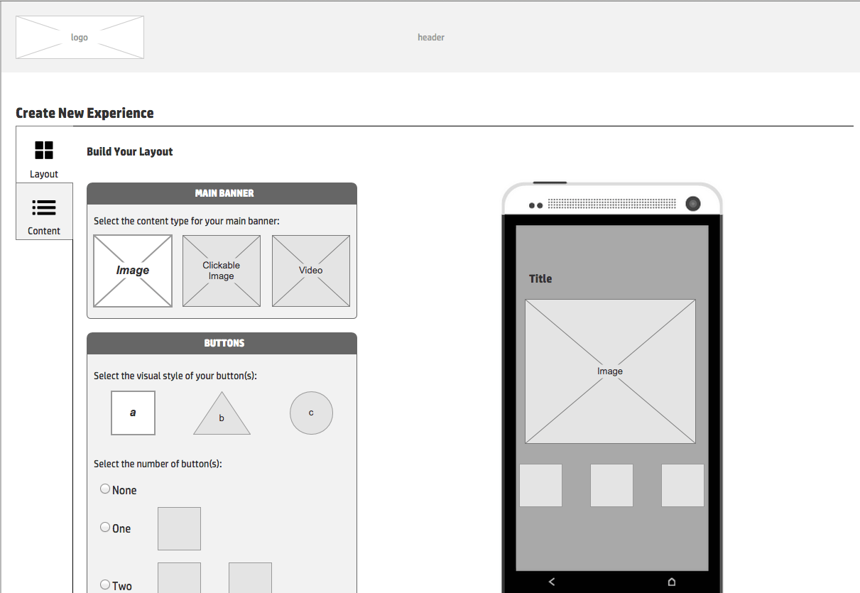 Wireframe Create Flow Prototype 1