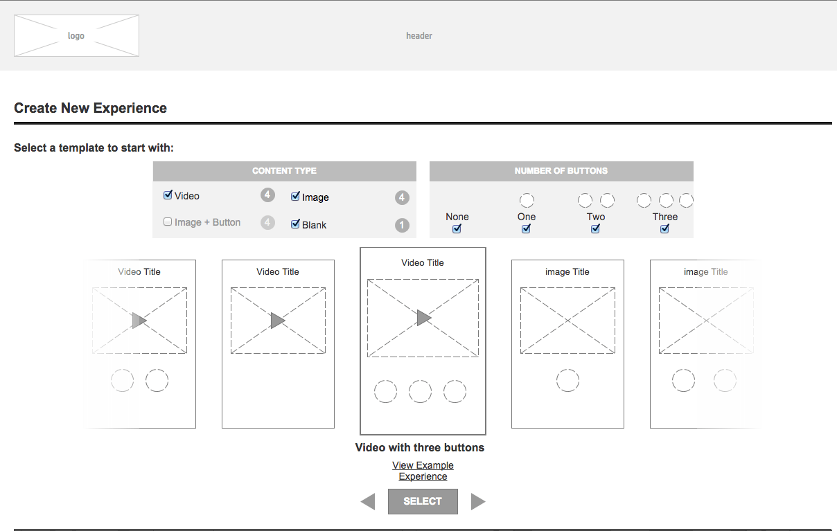 Wireframe Create Flow Prototype 2