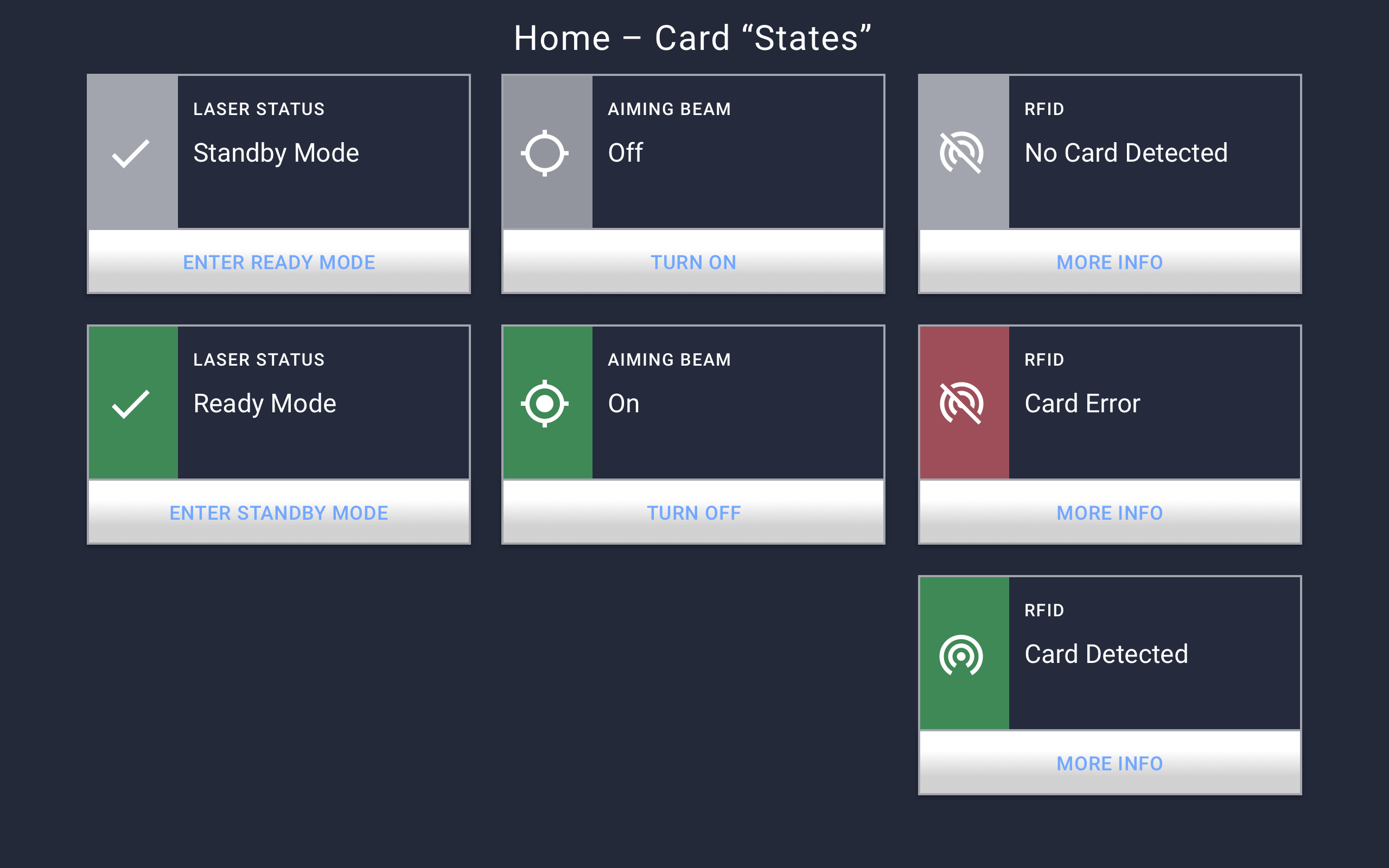 Home card states