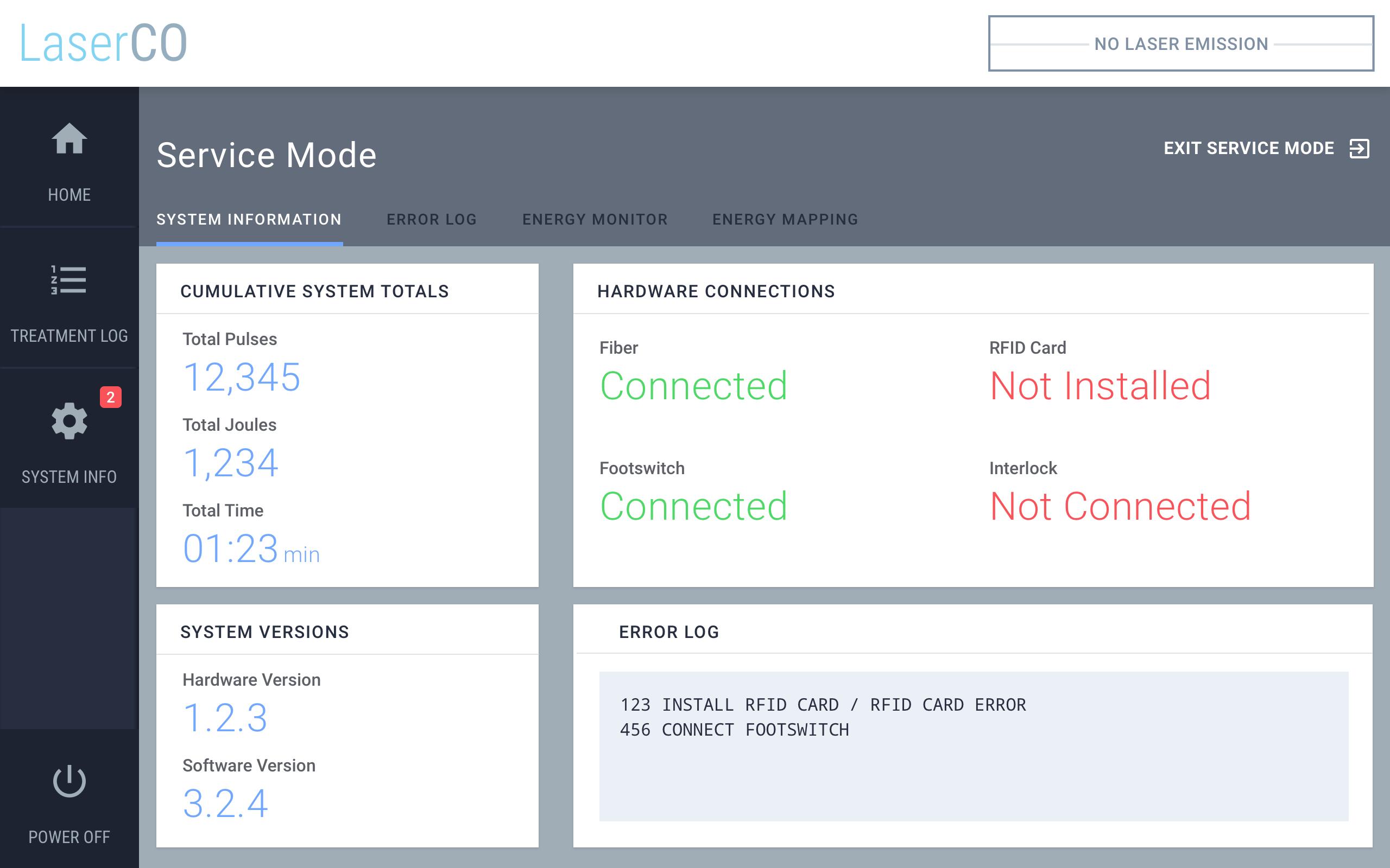 Service Mode - System Info